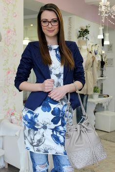 Blue coat Blue Coats, Sweater Jacket, Floral, Skirts, Sweaters, Jackets, Fashion, Down Jackets, Moda