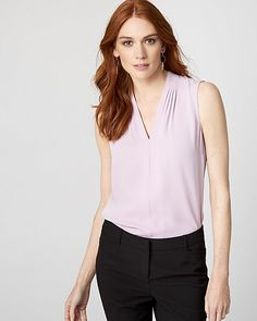 Shiny Twill V-Neck Blouse - This blouse is versatile, flattering and pretty, with an elegant built-up neckline.