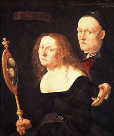 The painter Hans Burgkmair and his wife Anna look into the mirror which flatters not. Painted in 1529 by Lukas Furtenagel. Now in the Vienna Kunsthistorisches Museum