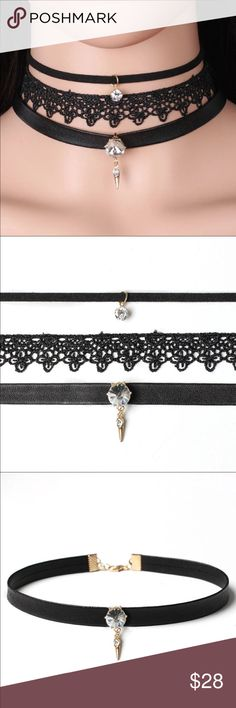 Three Leather Chokers with Two Blings Three chokers: Crystal Leather, Rhinestone Lace Chokers & Black leather choker for the price one. Jewelry Necklaces
