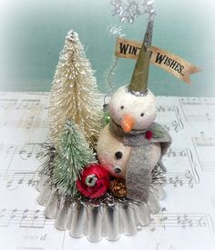 Holiday Decor Winter WISHES Vintage Inspired Snowman Folk Art Figurine on Tart Tin Christmas Decoration