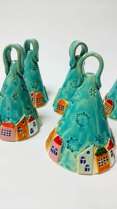 bell Town - tiny houses - ceramic and pottery - gift for him - gift for her - small houses-bell Ceramic bell Town tiny houses ceramic and pottery gift Ceramic Pottery, Pottery Art, Ceramic Art, Pottery Houses, Clay Projects, Clay Crafts, Ceramics Projects, Presents For Men, Gifts For Him