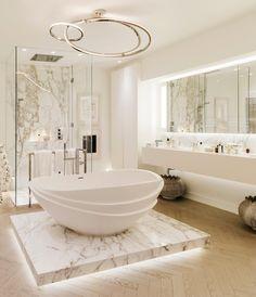 47 Comfy And Glamorous Bathroom Decor Ideas - Design Spa Bathroom Design, Bathroom Spa, Bathroom Styling, Bathroom Cabinets, Bathroom Mirrors, Remodel Bathroom, Bath Design, Bathroom Marble, Bathtub Tile