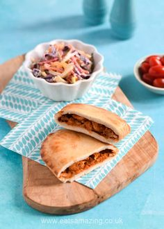 New Wall's Pastry Microwave slices - the Mexican Chicken Fajita slice served with my crunchy rainbow coleslaw recipe Kids Meals, Family Meals, Tasty Pastry, Food Art For Kids, Good Food, Yummy Food, Homemade Guacamole, Mexican Chicken, Lunch To Go