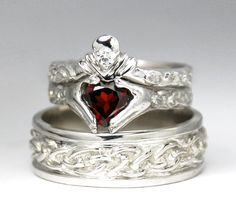 unique engagement wedding ring sets | Wedding Set - New - White gold - Diamond - Garnet - Engagement Ring ...