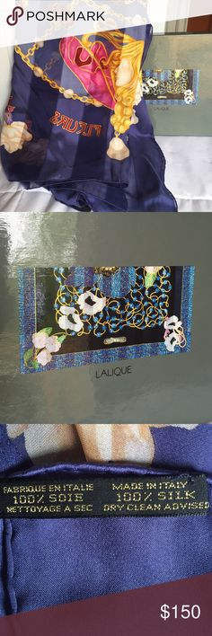 Lalique 100% silk shawl In original packaging. Never worn. Lalique Accessories Scarves & Wraps