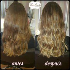 mechas #balayage de Elisa! El resultado nos encanta!! Con esta técnica le aportamos luz y naturalidad a su cabello. Le aplicamos una graduación de color con raíz fundida, además de color. (Realizado por Tere). Para terminar, optó por unas ondas rotas.
