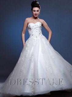 Ball Gown Sweetheart Floor-length Organza White Wedding Dresses