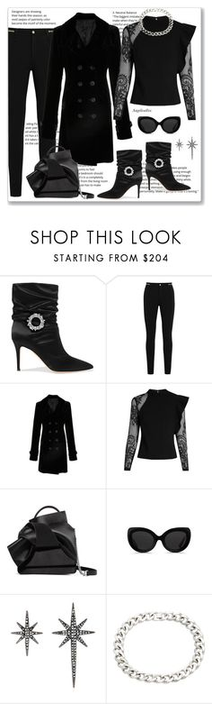 """""""Monochrome"""" by angelicallxx ❤ liked on Polyvore featuring Gianvito Rossi, Givenchy, Nili Lotan, self-portrait, N°21, 3.1 Phillip Lim, Federica Tosi and allblackoutfit"""