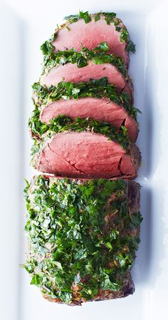 Coated in a crust of spicy horseradish and Dijon mustard and then served with a zesty gremolata of parsley, rosemary and thyme, this flavourful, satisfying tenderloin is tops. #bitememore #recipes