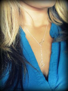 Heart Lariat in Sterling Silver Valentine's day by Keepitclose, $29.00