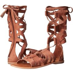 Free People Mesa Verde Gladiator Sandal (Tan) Women's Sandals ($138) ❤ liked on Polyvore featuring shoes, sandals, ankle wrap sandals, roman sandals, tan sandals, lace-up sandals and ankle tie sandals