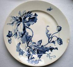 Assiette Terre de Fer Porcelaine opaque GIEN: Art Nouveau, modèle ETE: Pavots - c. 1880~1900