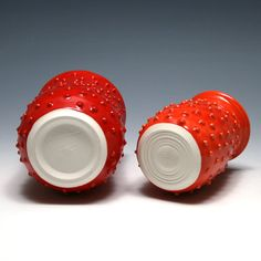 Red and Orange Vases with Dots by marymeestudio on Etsy, $26.00