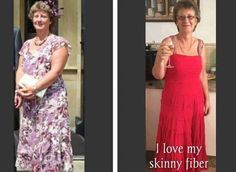 "Lisa says...after seeing myself in a dress again I decided to do another ""before and now"" on my Skinny Fiber journey... don't fret as you can see from the pic on the right I do indeed still like a glass of red and I do still eat chocolate occasionally (I just don't eat it in the quantities I used to!!!) My arthritis pains in my fingers have done a runner... they have gone! My hormones are no longer going crazy every month... nice and even now"" Order your Skinny Fiber here…"