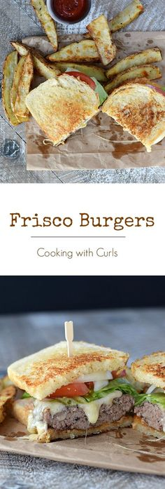 Frisco Burgers - juicy burgers topped with Thousand Island Dressing, melted cheese and sourdough bread grilled to perfection make thess Frisco Burgers a family favorite : cookingwithcurls Thousand Island Dressing, Wrap Recipes, Beef Recipes, Cooking Recipes, Hamburger Recipes, Barbecue Recipes, Cooking Tips, Burger And Fries, Beef Burgers