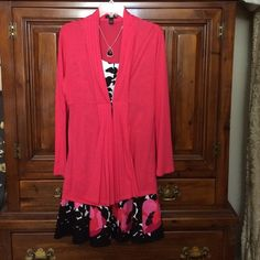 """Long coral cardigan Alfani long coral cardigan. Pleated around opening. Slightly pleated waist. Hook closure at waist.  Cotton/Modal blend material. 28"""" long. Alfani Sweaters Cardigans"""