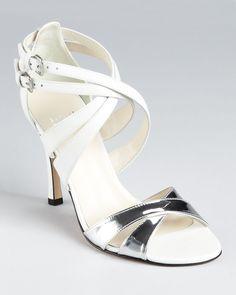 Stuart Weitzman | Leather strappy sandals with metallic crisscross straps