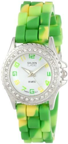 "Golden Classic Women's 2295-D ""Petite Colors Galore"" Rhinestone Encrusted Bezel Multi-Colored Silicone Watch Golden Classic. $19.80. White dial with multi-colored Arabic numerals; Silver and white hour, minute and second hands. Water-resistant to 99 feet (30 M) - not recommended to take into deep water or shower. Multi-colored silicone band with buckle. Rhinestone encrusted silver metal bezel. Highest standard Quartz movement"