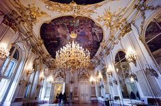 One of the hundreds of rooms in the Schonbrunn Palace. Youthful home of Marie Antoinette.