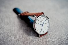 Automatic Silver and White (blue hands) with Light Brown Suede Strap