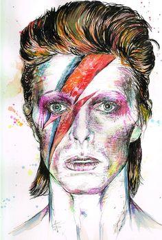 DAVID BOWIE - ORIGNAL Painting Drawing Watercolour Art Ziggy Stardust Lightning Bolt Aladdin Sane Starman Pen Fanart Space Oddity Musician