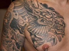 Chest Tattoos Designs For Men | freehand full sleeve 25 Mind Blowing Japanese Dragon Tattoo Designs