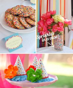 Sprinkles Party Theme: Love the sprinkles in the vase idea. :o)