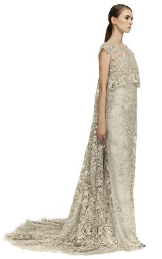 Marchesa Illusion Tulle Column Gown With Embroidered Cape Overlay