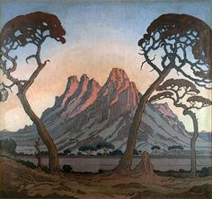 Jacobus Hendrik Pierneef - painted landscape to the virtual exclusion of everything else. He developed a very distinctive style: Title: may be called Okahandja (this is so similar to linocut with that name). African Paintings, South African Artists, Africa Travel, Landscape Paintings, Landscape Art, Art Images, Illustration Art, Illustrations, Trees