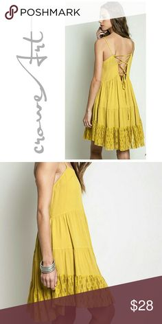 🆕 Avocado Yellow Lace Trapeze Mini Avocado yellow Trapeze Style peasant mini dress, raw lace accent hemline, tie back detail, perfect to bring in some warmer weather! Gorgeous quality!  PRICE IS FIRM, NO OFFERS   171 Boutique  Dresses Mini