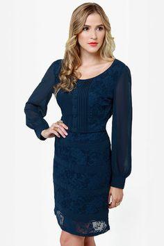 Lovely Navy Blue Dress - Lace Dress - Long Sleeve Dress - $51.00
