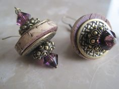 Wine Cork Earrings Accented with Purple by ShimmerJewelry on Etsy, $22.00