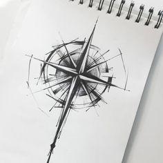 65 amazing compass tattoo designs and ideas Sketch Style Tattoos, Sketch Tattoo Design, Tattoo Sketches, Tattoo Drawings, Tattoo Linework, New Tattoo Designs, Rose Tattoos, Body Art Tattoos, Sleeve Tattoos
