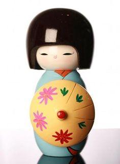 Japanese Dolls - Kokeshi Doll - Light blue