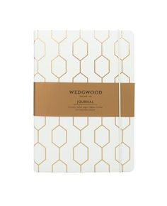 Wedgwood A5 White Hard Cover Foil Edge Journal Arris Geometric Gold Foil Design