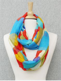 Light Teal and Multi Color Block Infinity Scarf