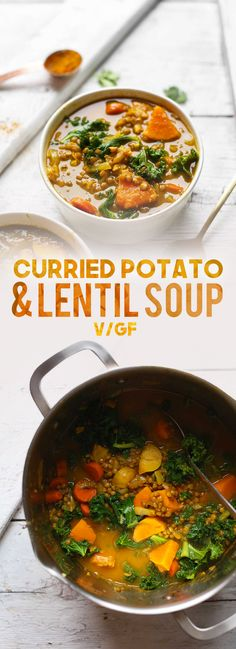 Curry Soup with lentils and veggies! Easy, hearty, SO healthy!DELICIOUS Curry Soup with lentils and veggies! Easy, hearty, SO healthy! Lentil Recipes, Soup Recipes, Whole Food Recipes, Vegetarian Recipes, Healthy Recipes, Potato Recipes, Curried Lentil Soup, Lentil Potato Soup, Lentil Vegetable Soup