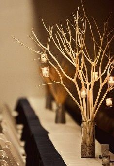 I love this idea! i would spray the twigs with glitter...wedding candle centerpieces