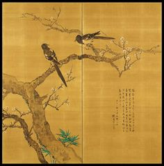 Matsubayashi Keigetsu Pair of 1918 Screen Paintings of Magpies | From a unique collection of antique and modern paintings and screens at https://www.1stdibs.com/furniture/asian-art-furniture/paintings-screens/