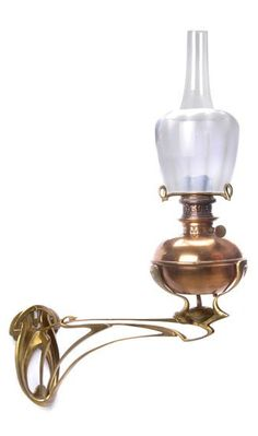 HENRY VAN DE VELDE Art Nouveau oil lamp sconce, 1899, bronze bracket with copper font, opalescent striped glass shade likely made by Val Saint Lambert. H. 21.5 cm; d. 46.5 cm. Burner, h. 19.8 cm.  Marked twice. Offiz. Kat. der Internationalen Kunst-Ausstellung des Vereins bildender Künstler Münchens (A.V.)  |  SOLD Hammer Price $56,400 Germany 2008