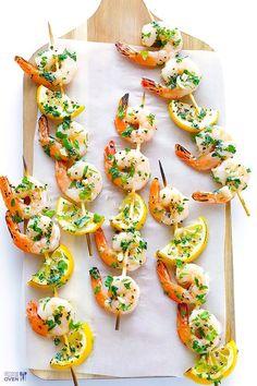 Easy Grilled Shrimp Scampi Sticks by Homemade Recipes at http://homemaderecipes.com/healthy/24-homemade-shrimp-scampi-recipes