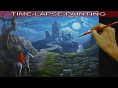 Acrylic Landscape Painting Tutorial Red Lady on White Horse and the Castle with Graveyard - YouTube