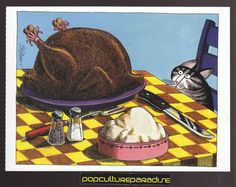 B. KLIBAN (Bernard) CATS ART POSTCARD Kitty with Turkey Thanksgiving | eBay