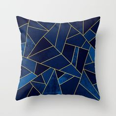Blue stone with yellow lines Throw Pillow by Elisabeth Fredriksson. Worldwide shipping available at Society6.com. Just one of millions of high quality products available.