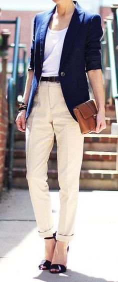 Business Outfits Blue Jacket Cream Pants
