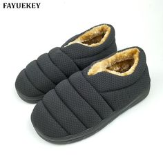 FAYUEKEY Winter Non-slip Caterpillar Cotton Plush Home Slippers Men Indoor  Floor Outdoor Thicken Boys Warm Slippers Flat Shoes 0f62fa691c7f