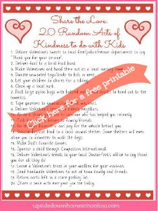 Free Printable: 20 Random Acts of Kindness to Do with Kids | Free Homeschool Deals ©