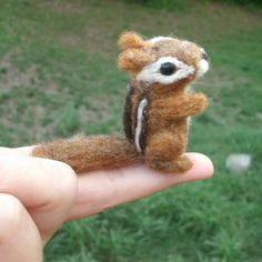 Needle Felted Chipmunk Baby, Needle Felted Animals, Miniature Chipmunk Sculpture. $39.00, via Etsy.