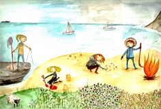 JoyNevada illustration  Four seasons in Mull, Scotland. By the sea